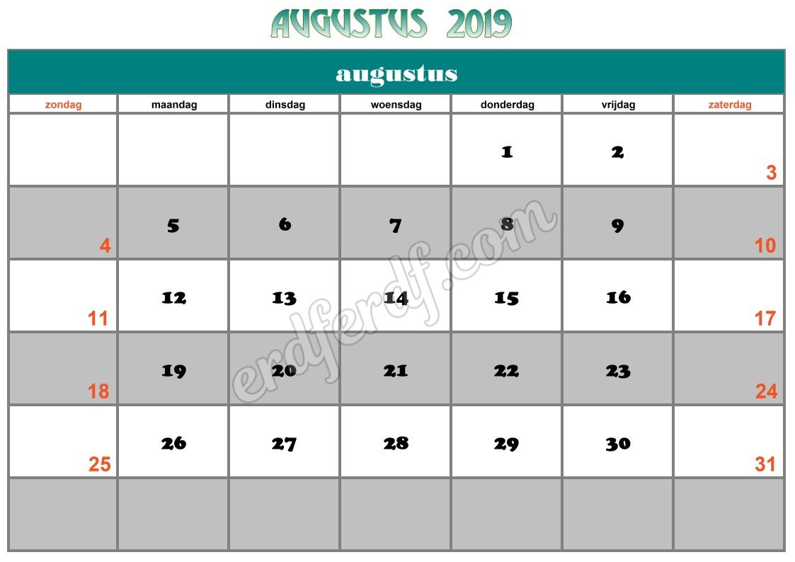 8 Augustus Printable Calendar 2019 Nz