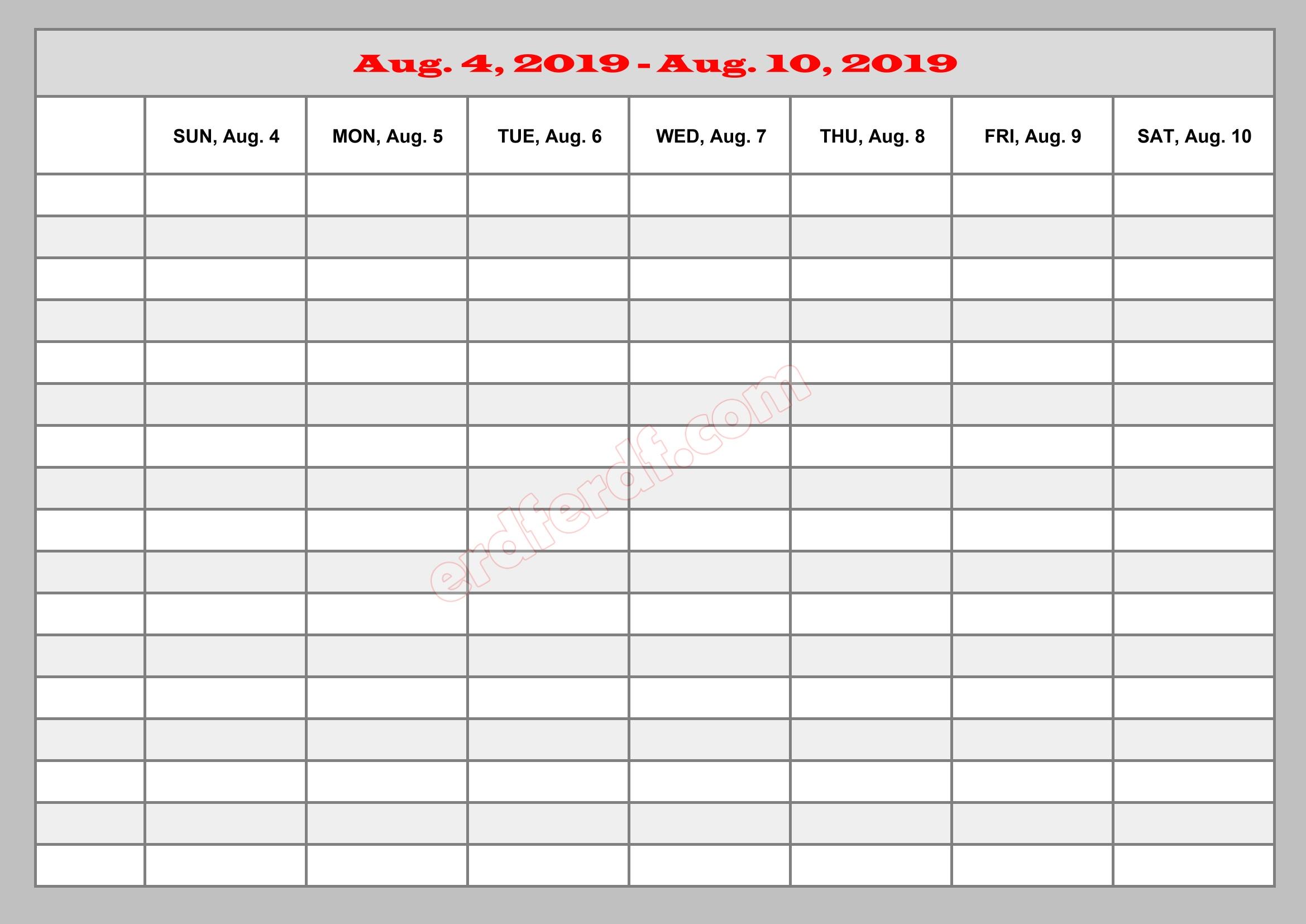 8 Augustust Template Calendar 2019 Excel