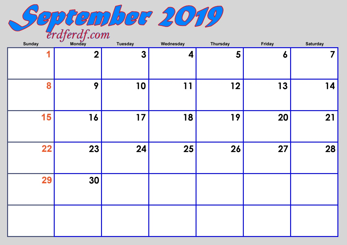 9 September Blank 2019 Calendar By Month