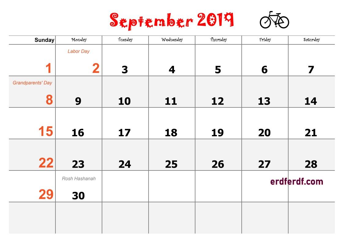 9 September Blank Calendar 2019 Word