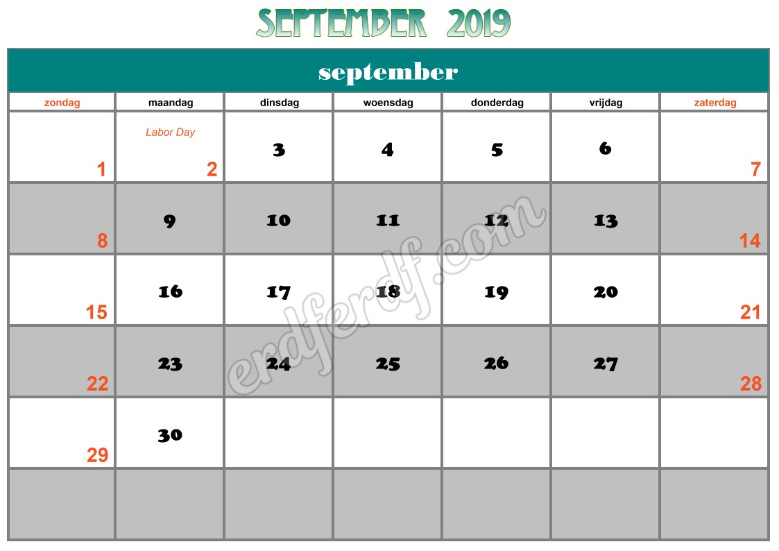 9 September Printable Calendar 2019 Nz
