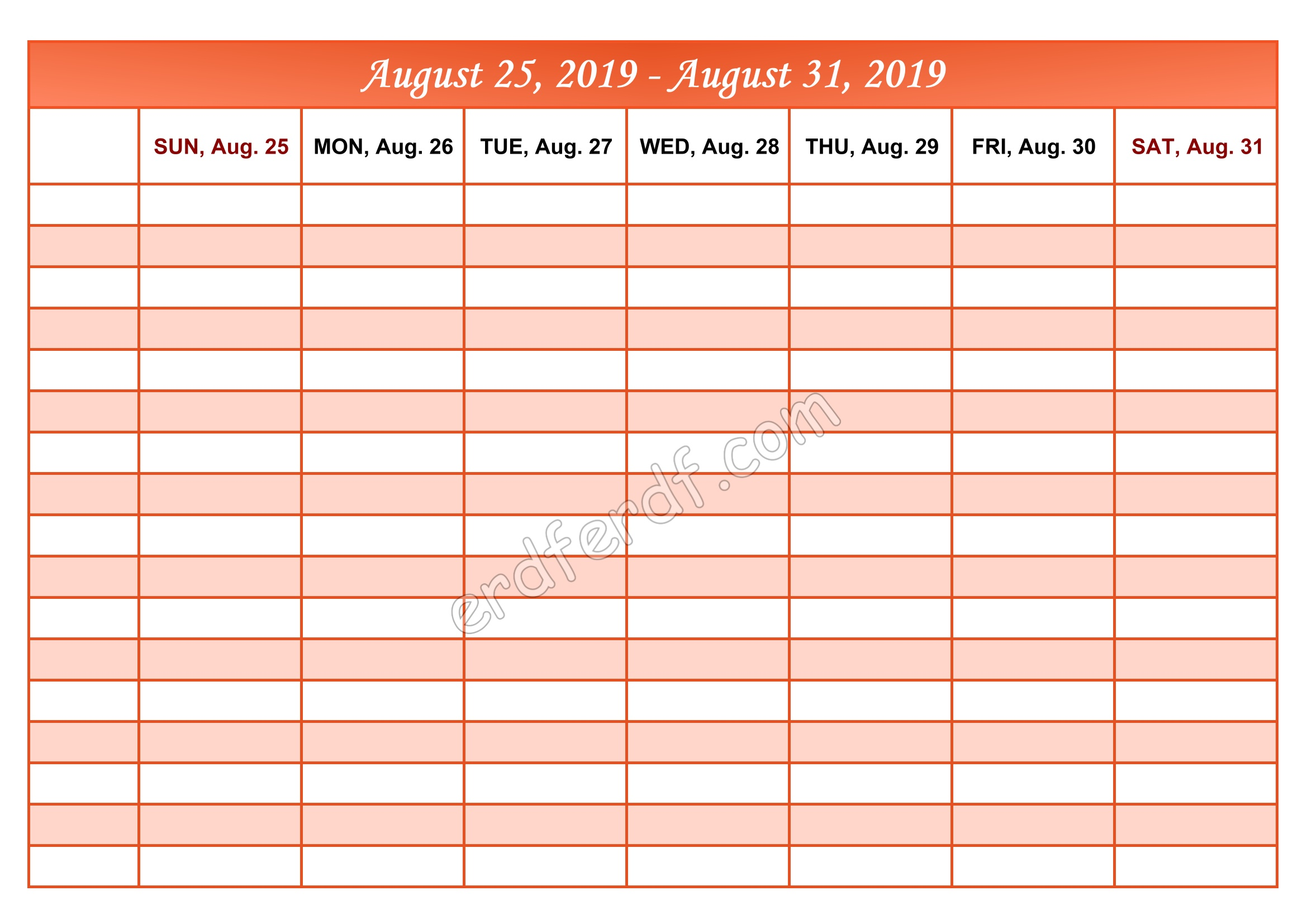 9 September Printable Calendar 2019 Weekly Month by Month
