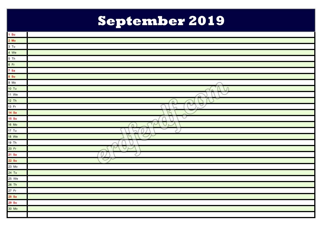 9 September Printable Calendar Planner 2019