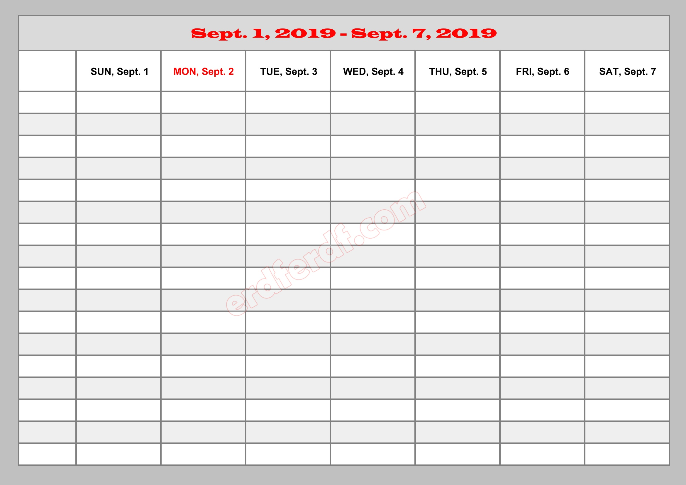9 September Template Calendar 2019 Excel