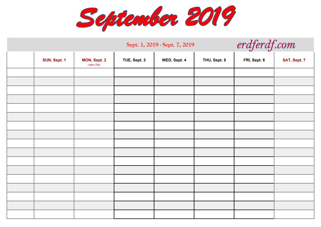 printable 2019 calendar by week