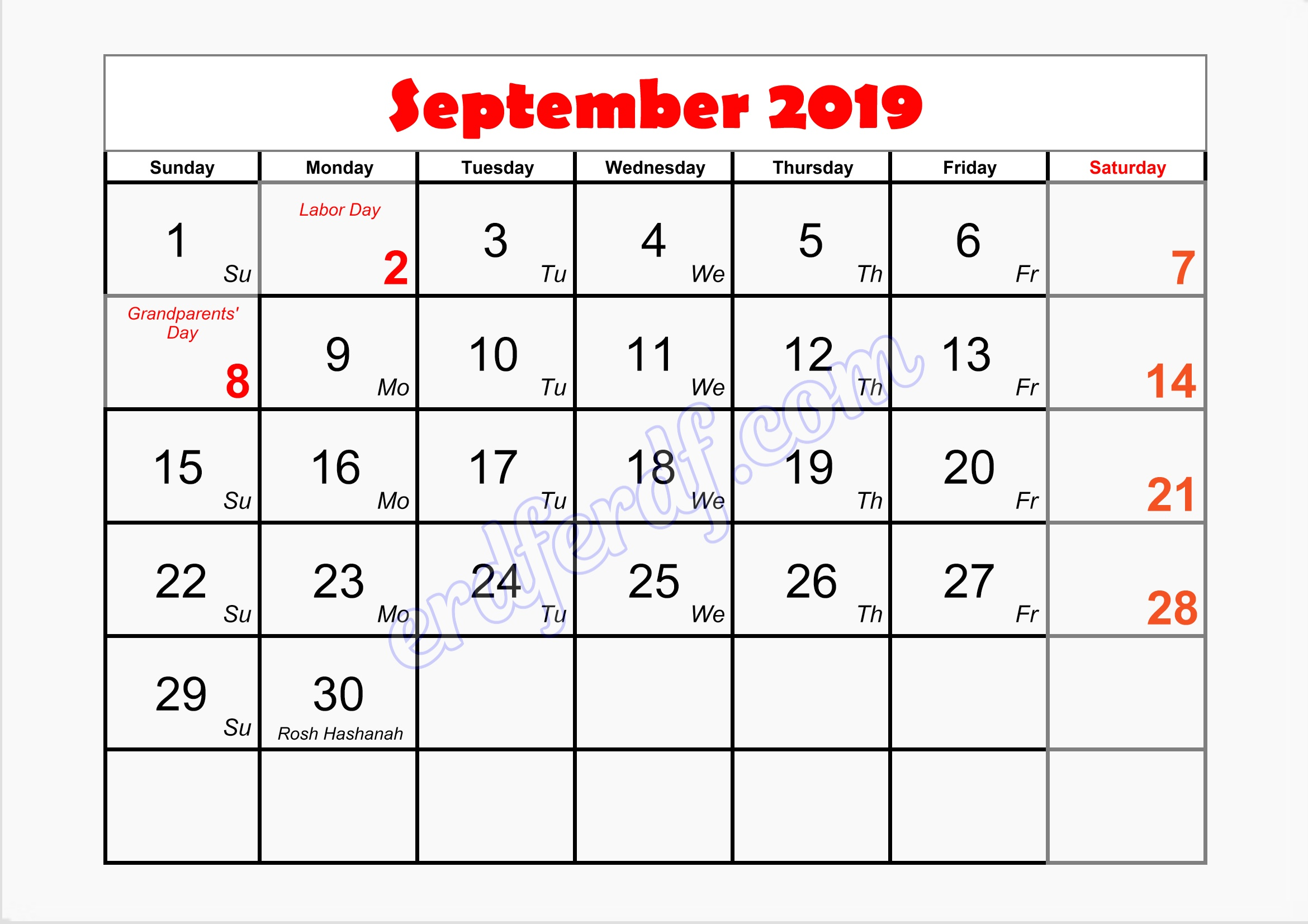 9 September writable printable calendar 2019