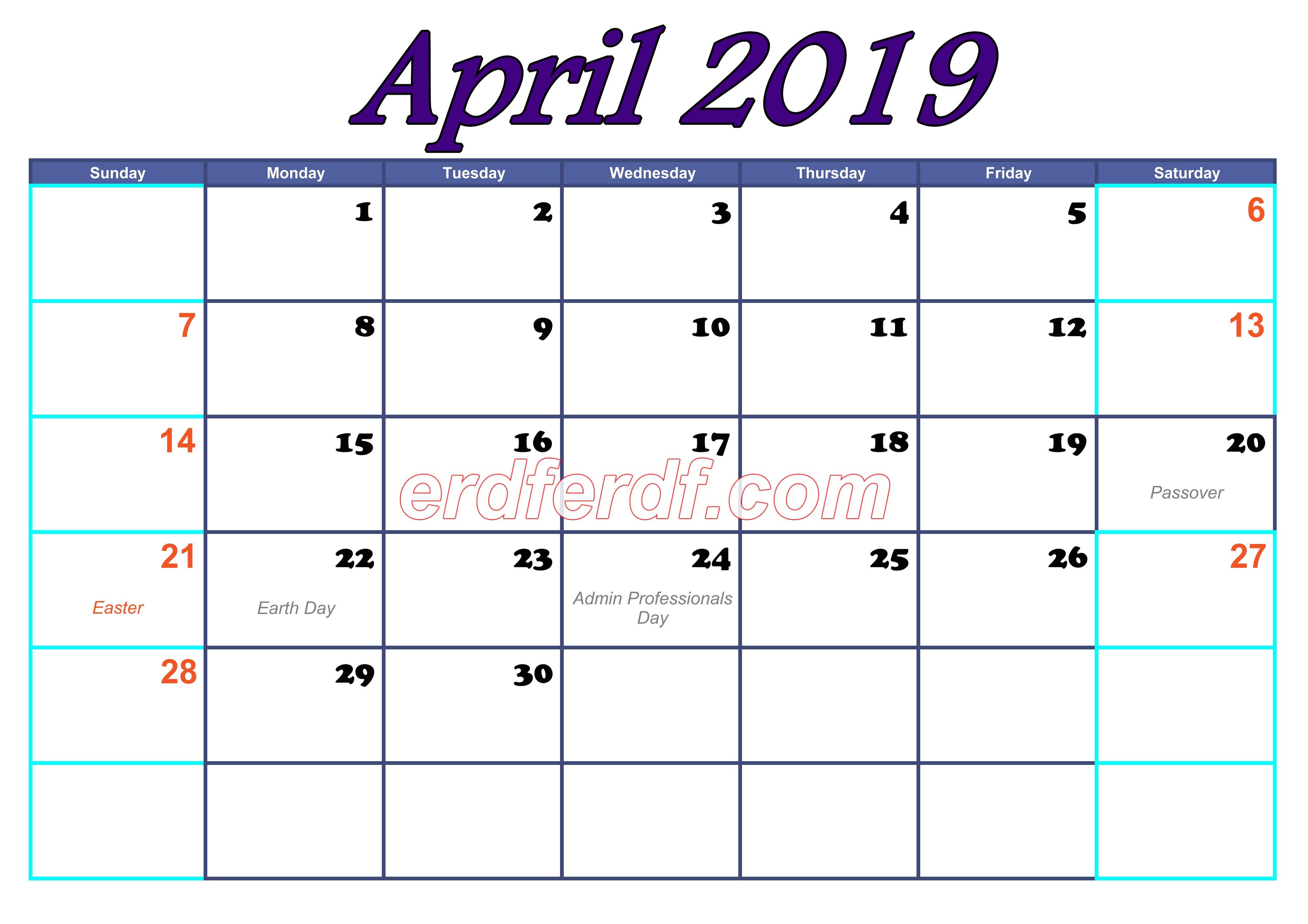 April Blank Calendar For 2019