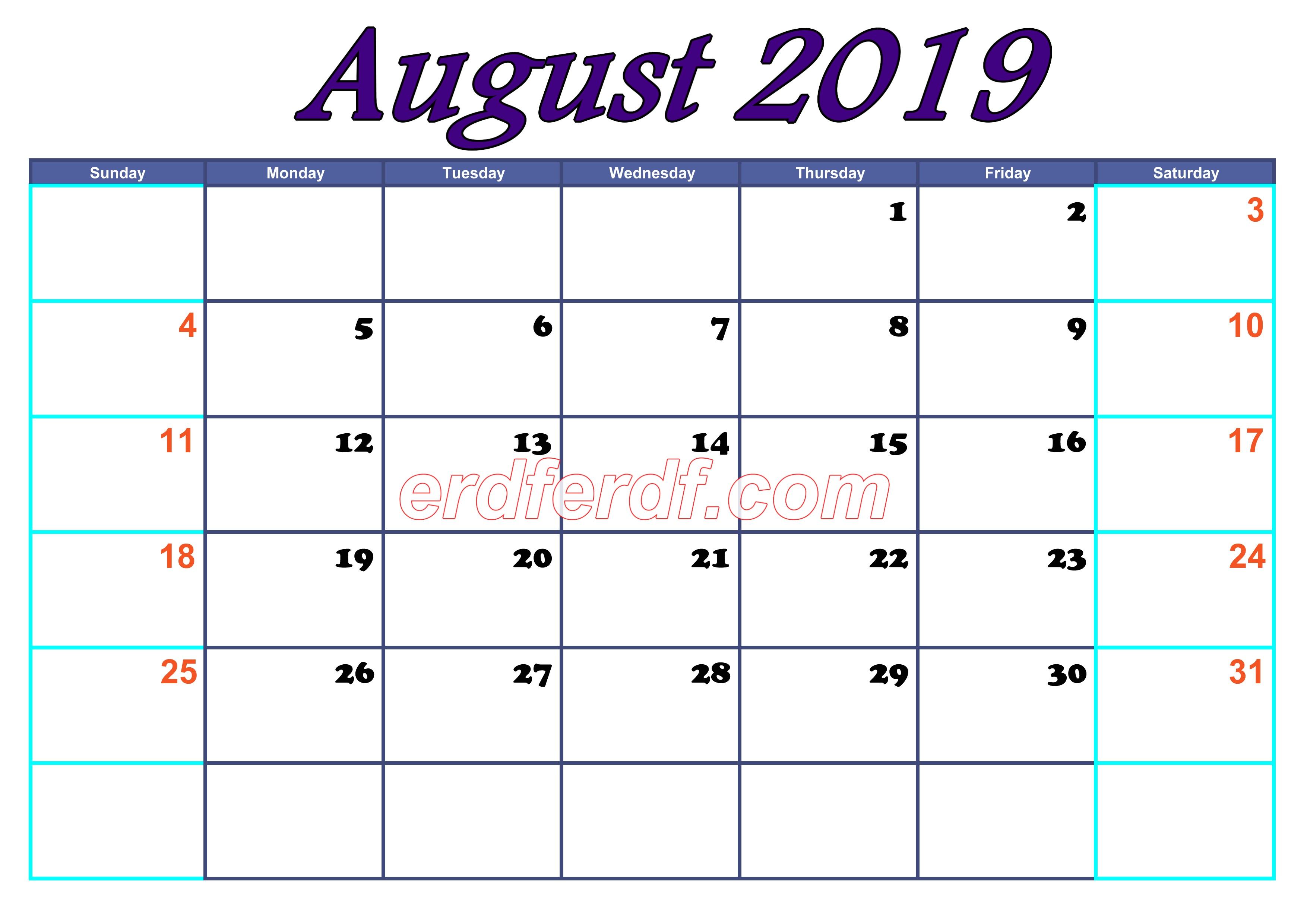 August Blank Calendar For 2019