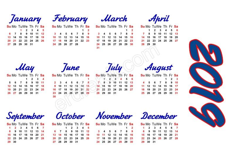 Calendar Template 2019 Free Printable Format
