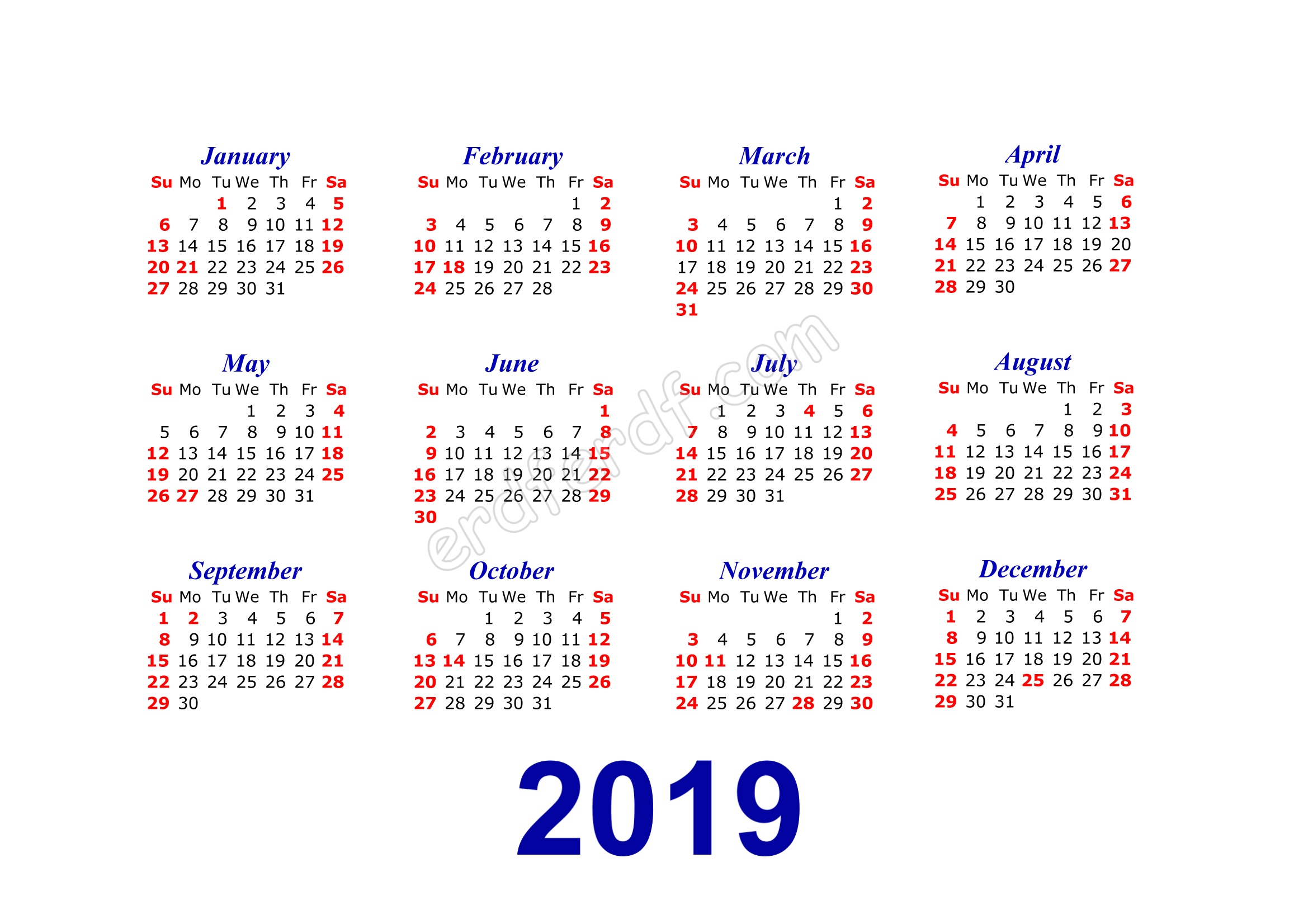 Calendar Template 2019 Illustrator Jos
