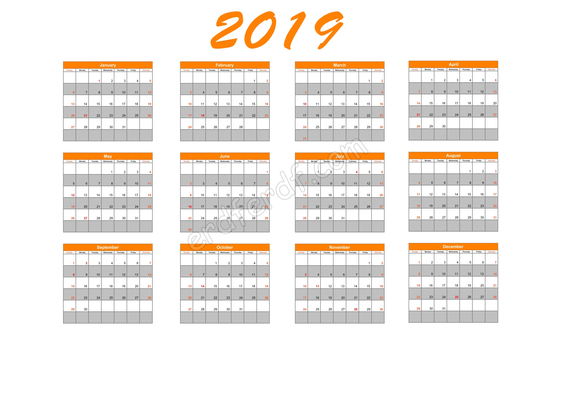 Calendar Template 2019 Illustrator Orange Table Header