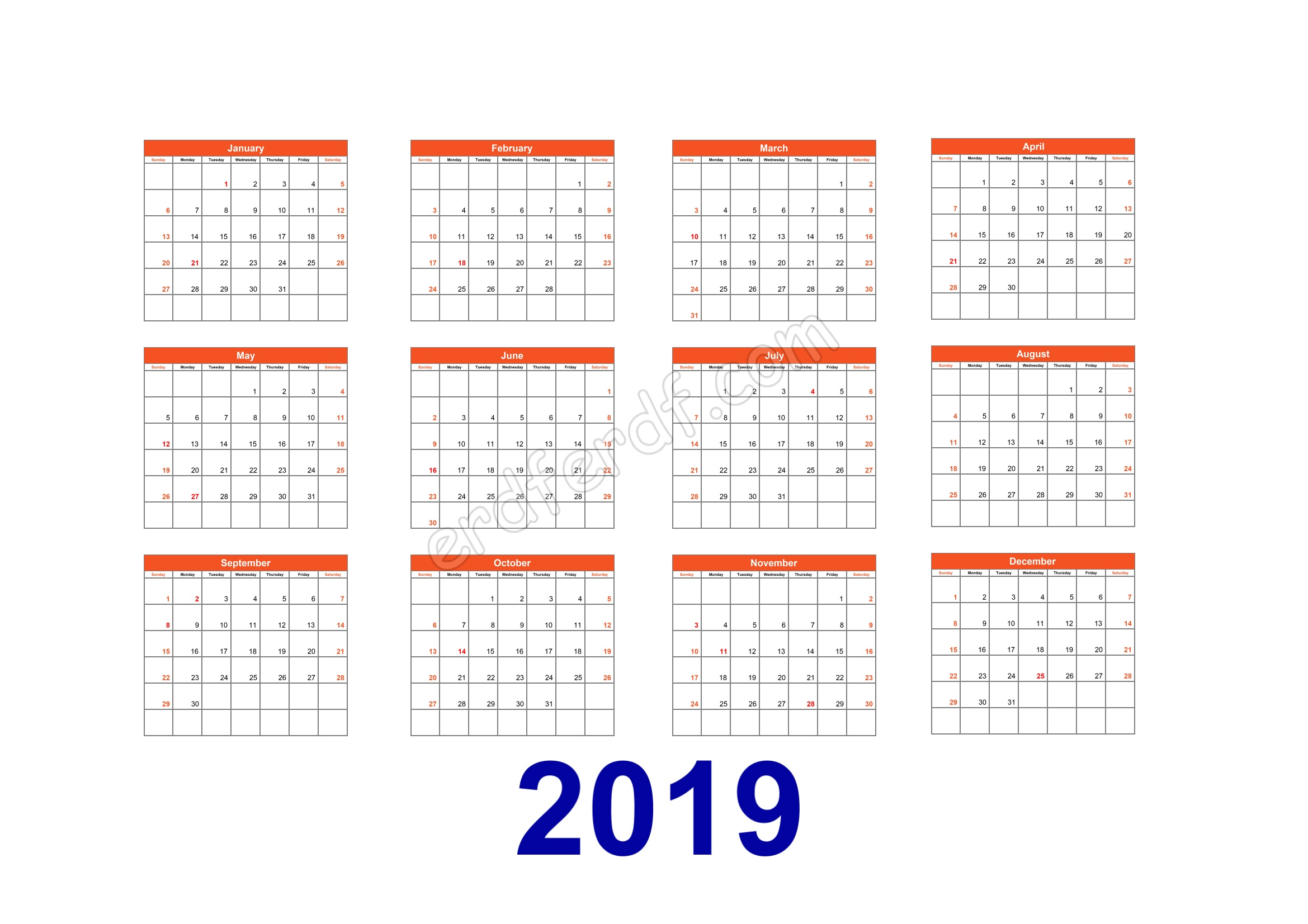 Calendar Template 2019 Illustrator Orange Table