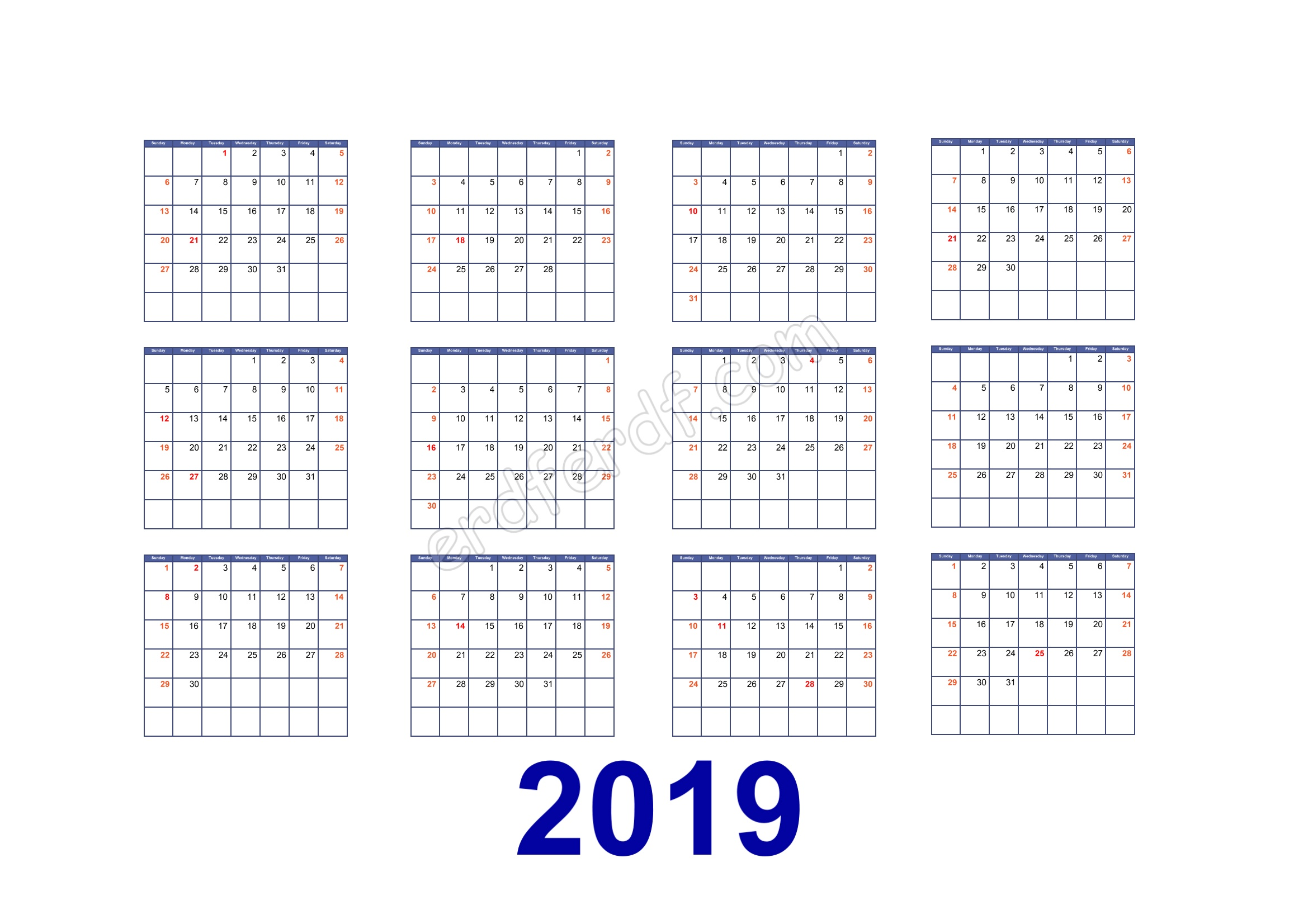 Calendar Template 2019 Illustrator Simple