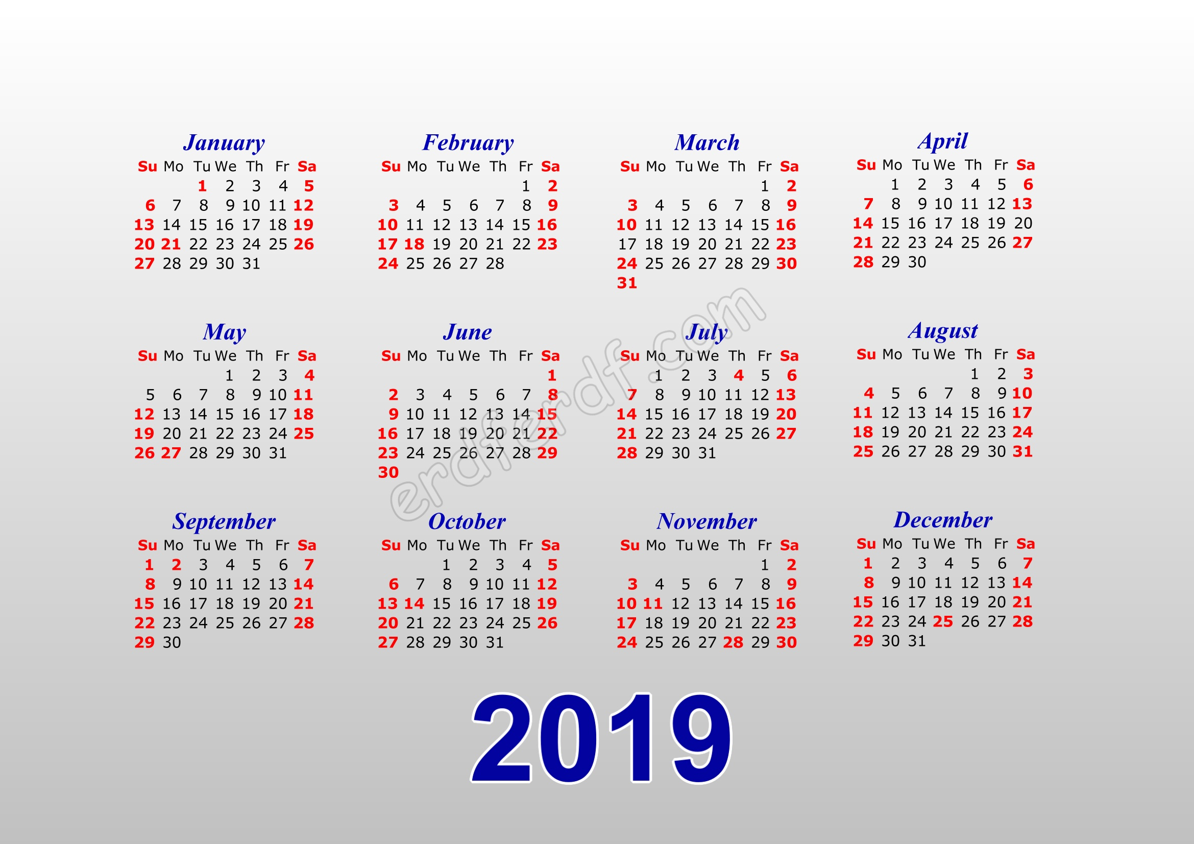 Calendar Template 2019 Illustrator With Background