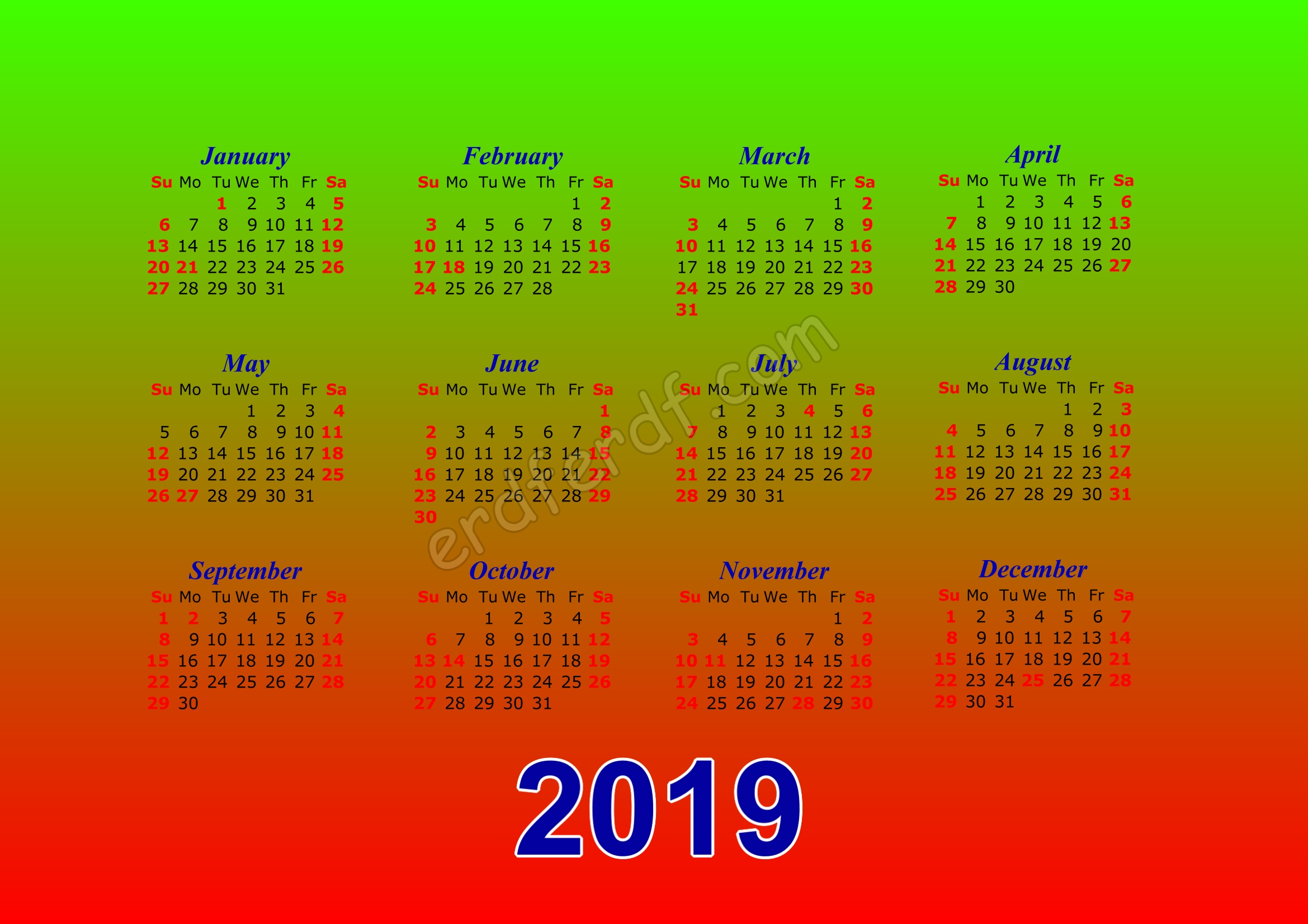 Calendar Template 2019 Illustrator