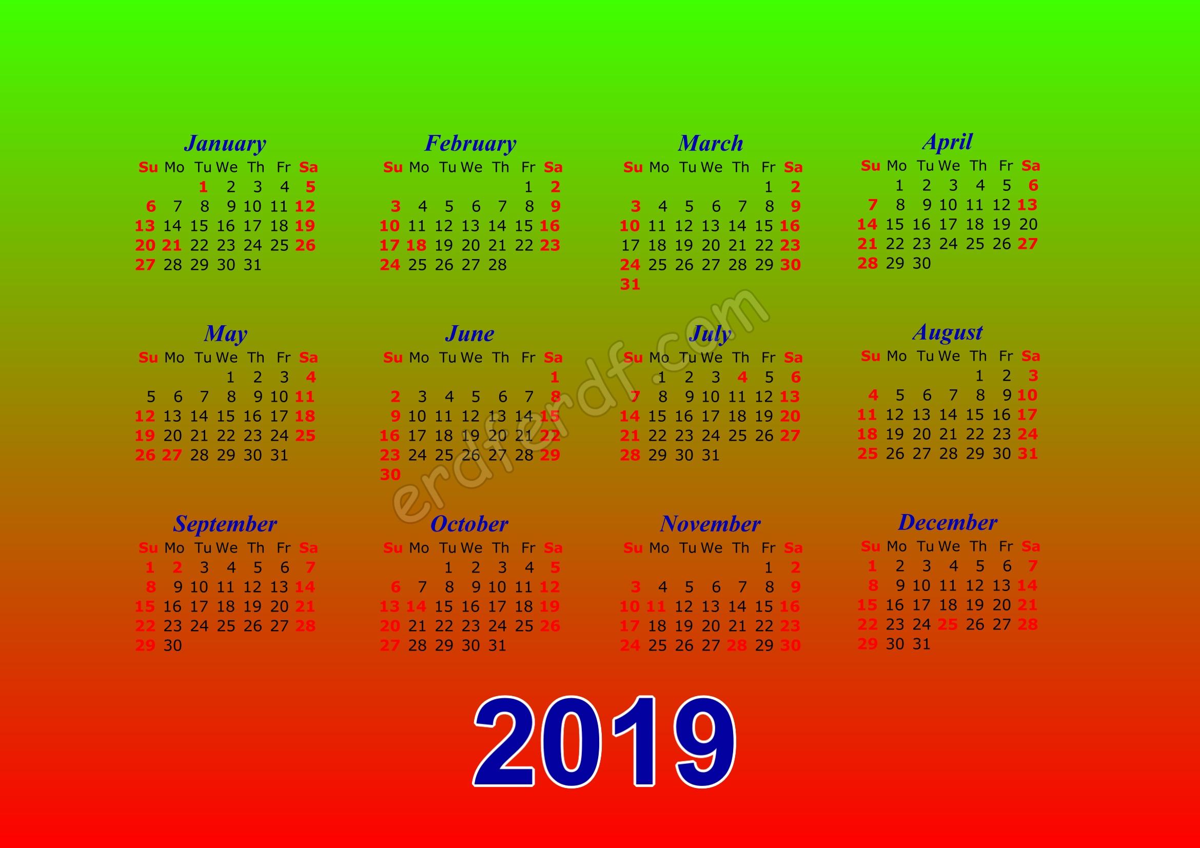 Calendar Template 2019 Illustrator