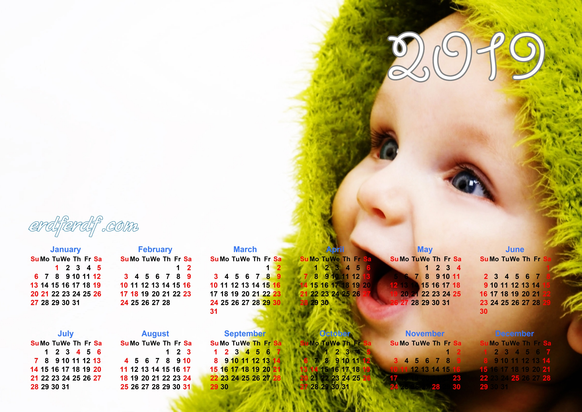 Calendar Template For 2019 Baby Smile Cute