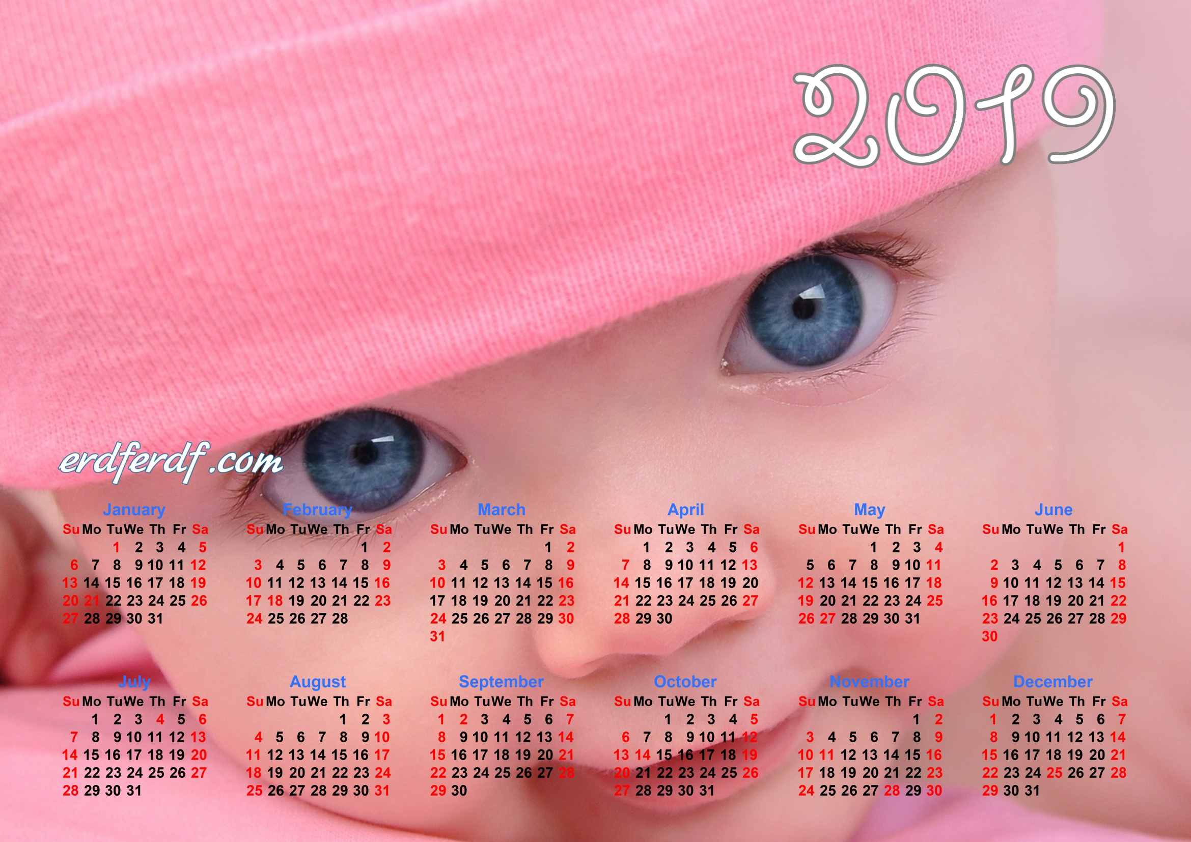 Calendar Template For 2019 Cute Eye Baby