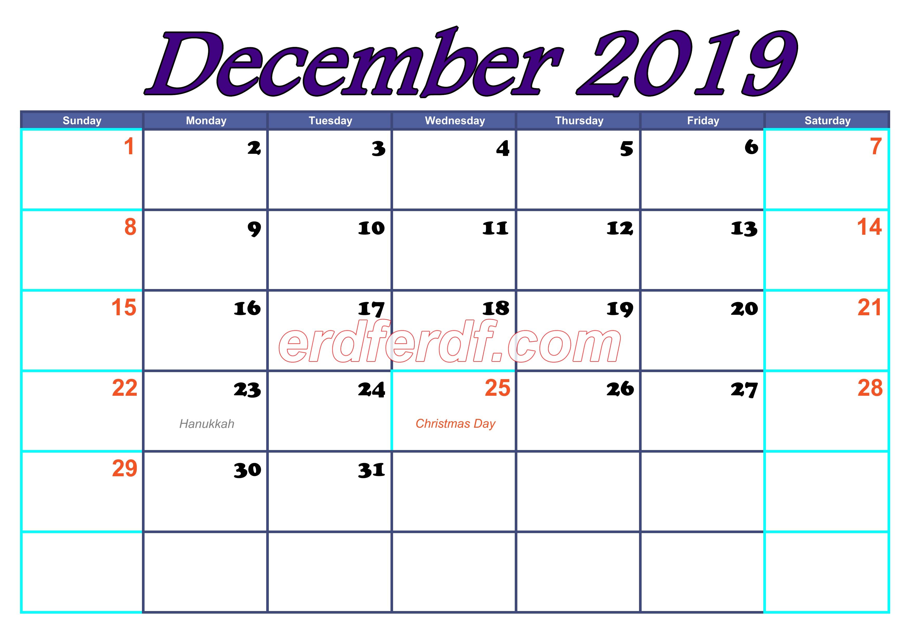 December Blank Calendar For 2019