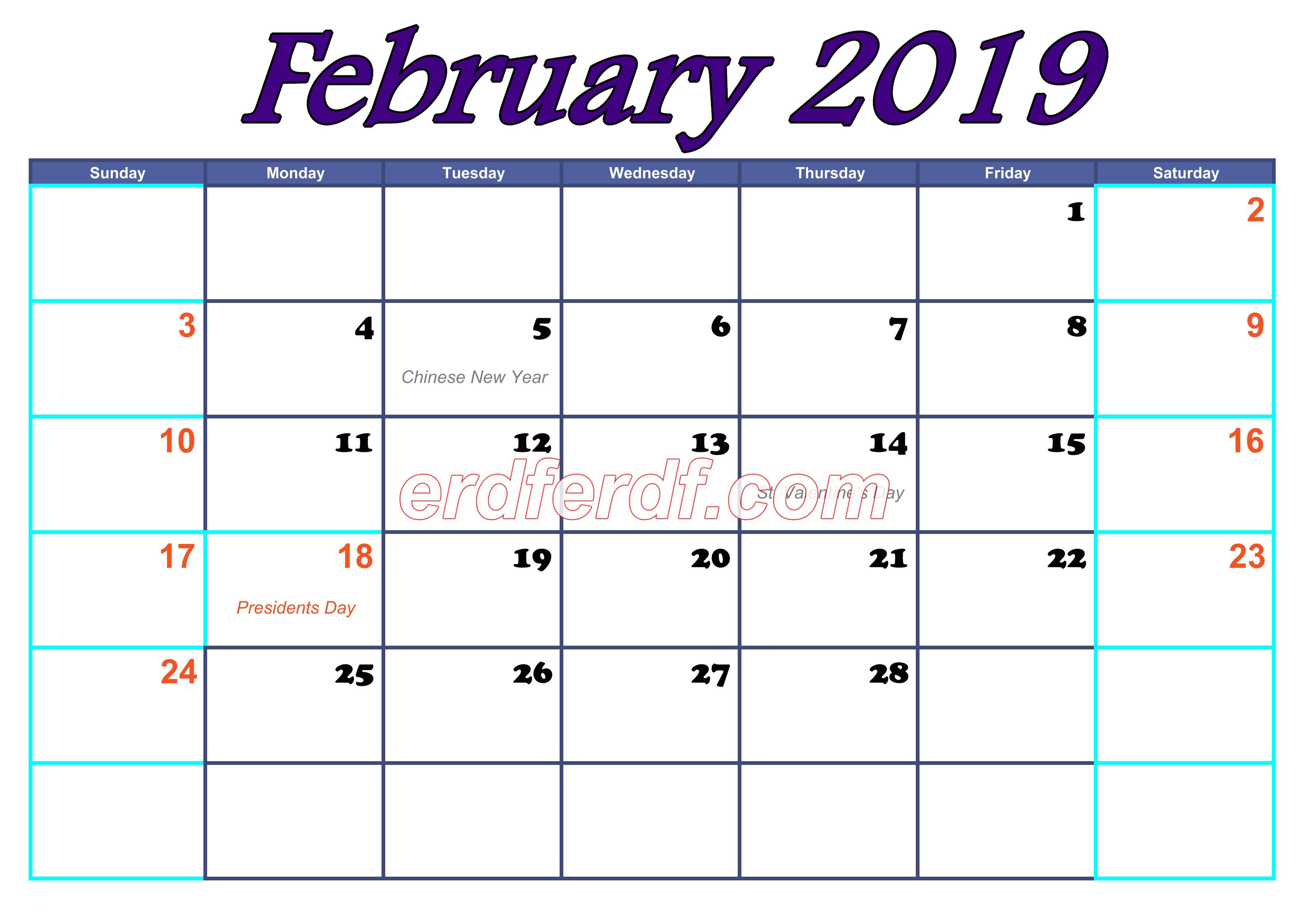 February Blank Calendar For 2019