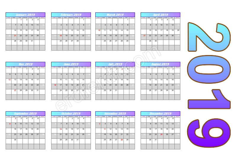 Gradient Header Calendar Template 2019 Free