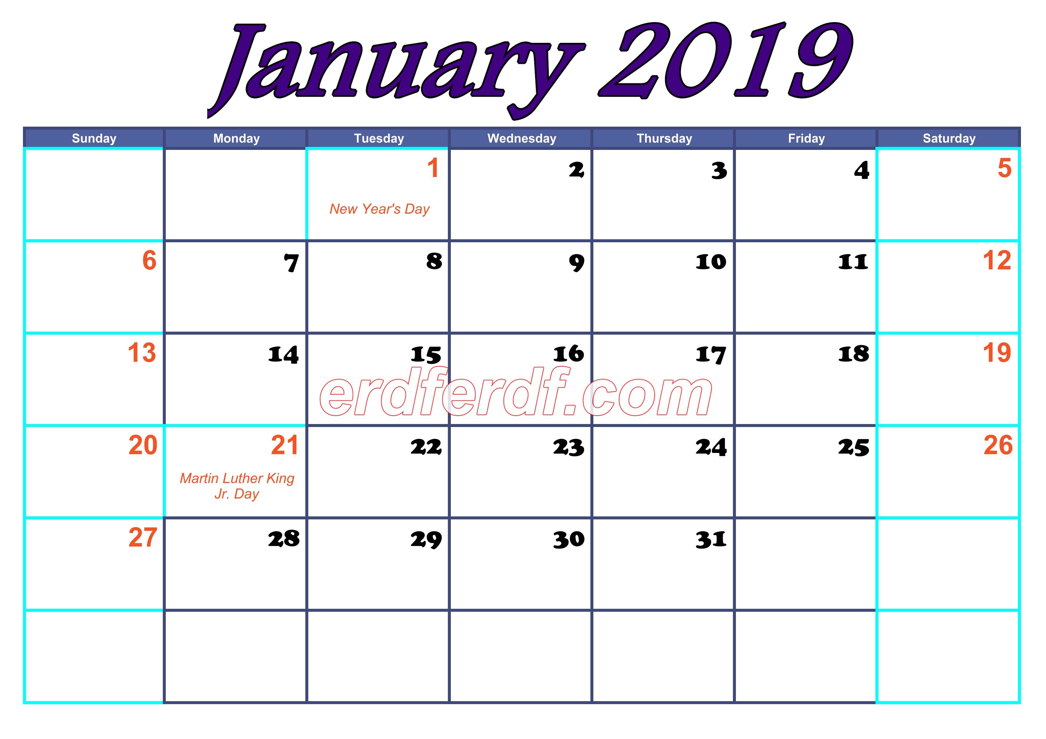 January Blank Calendar For 2019