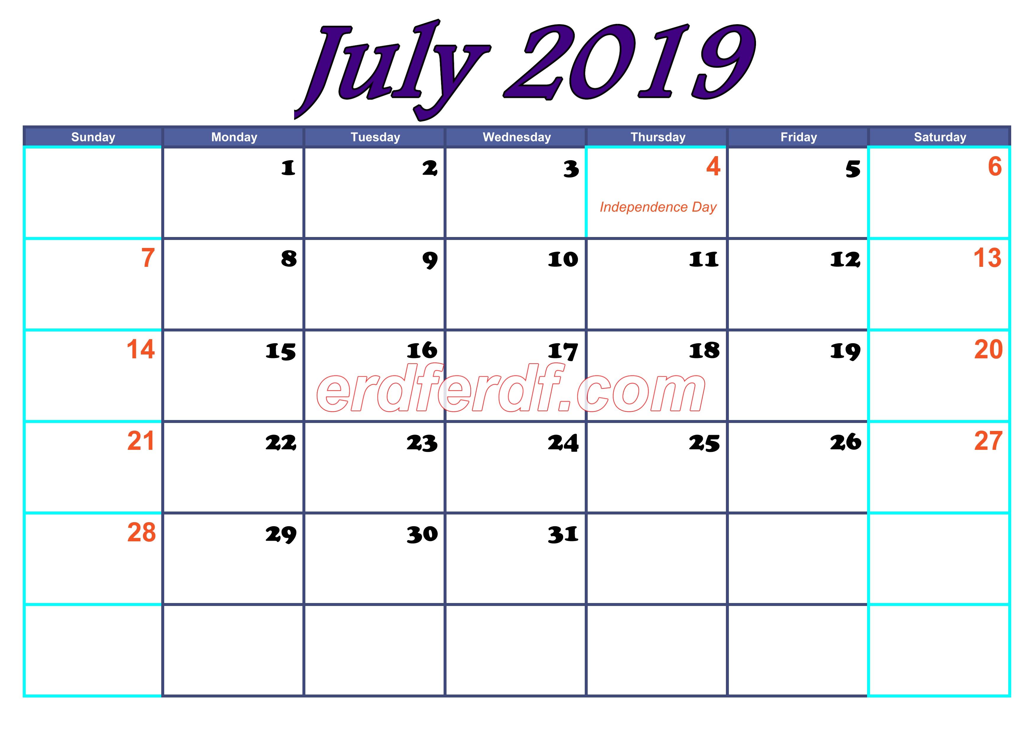 July Blank Calendar For 2019