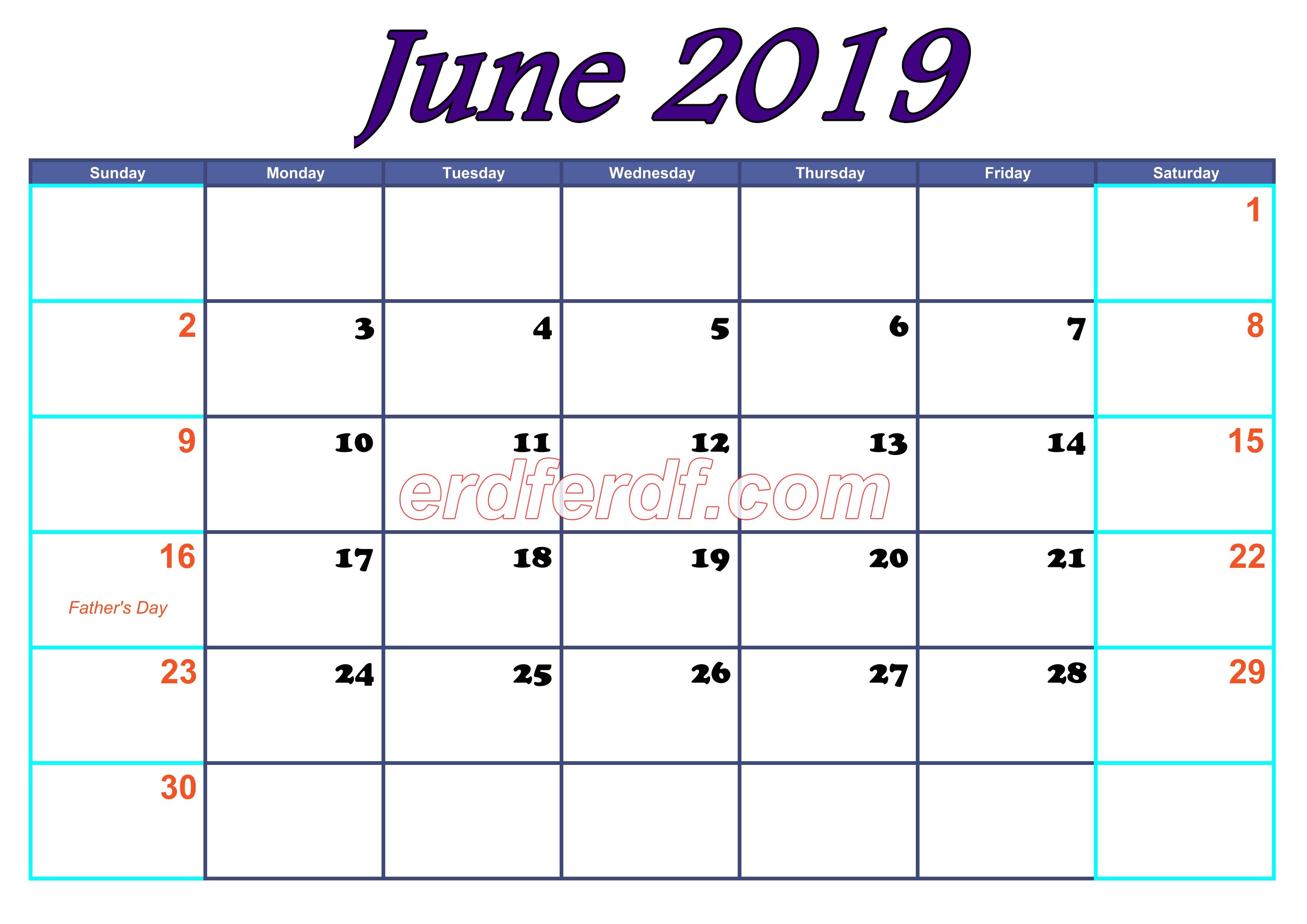 June Blank Calendar For 2019