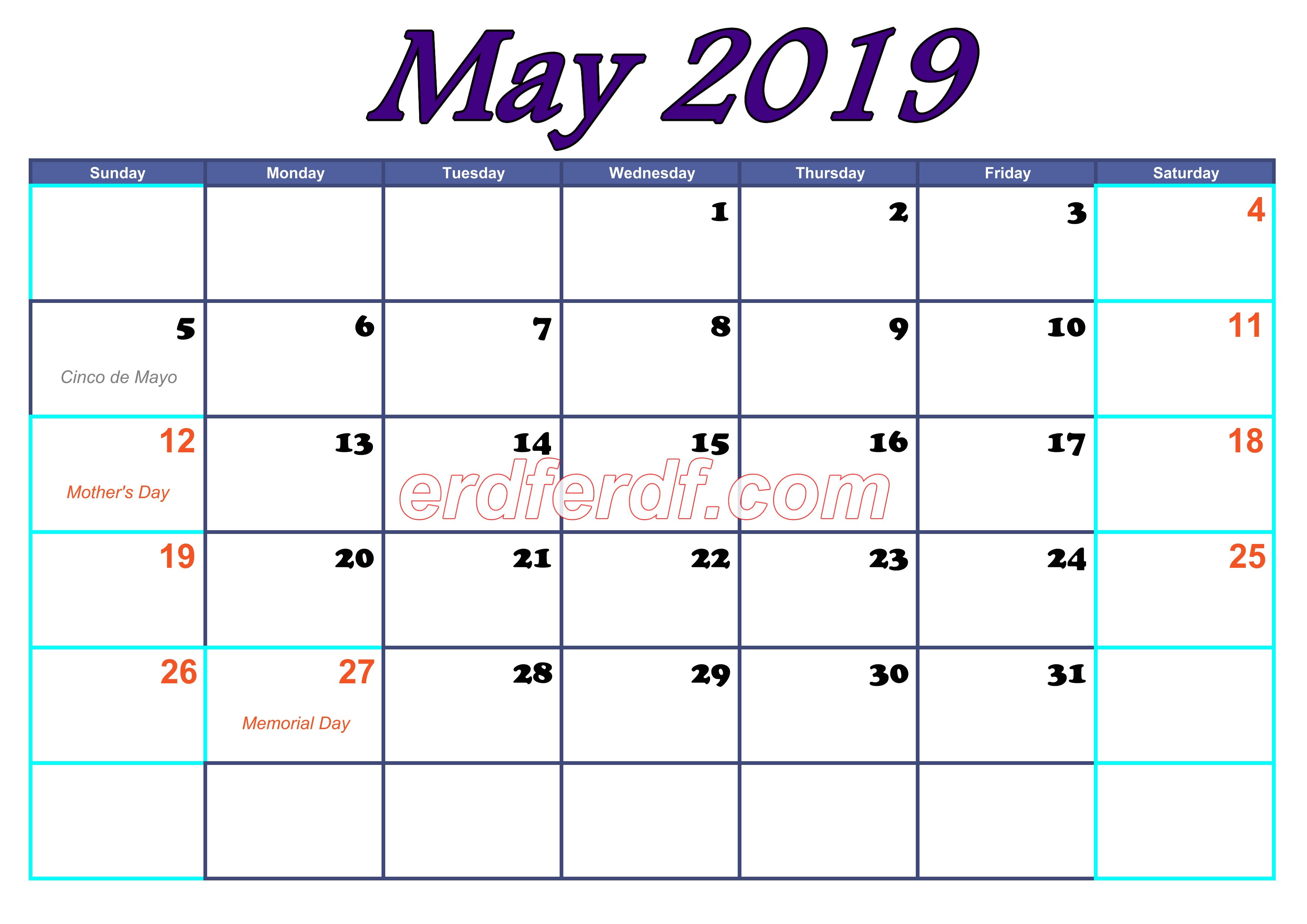May Blank Calendar For 2019
