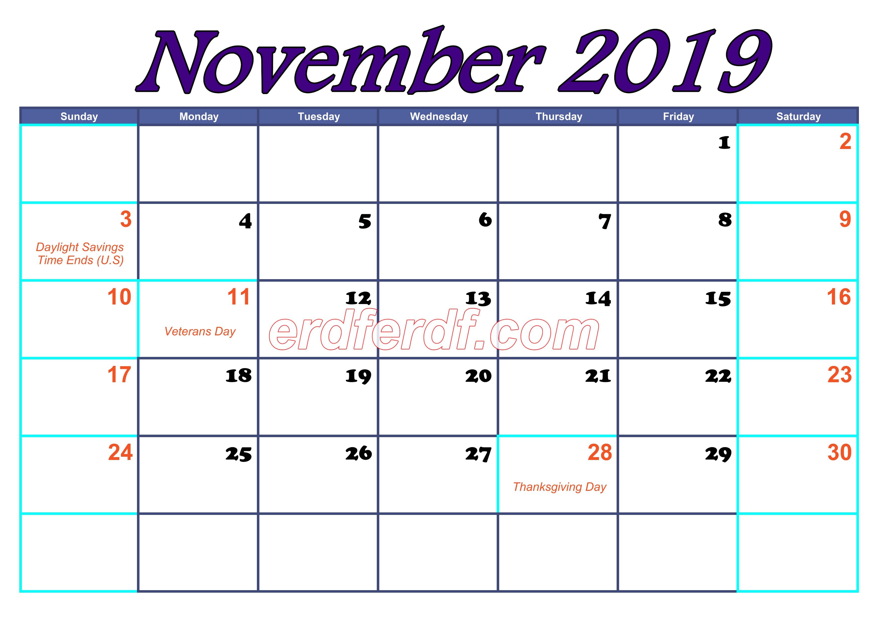 November Blank Calendar For 2019