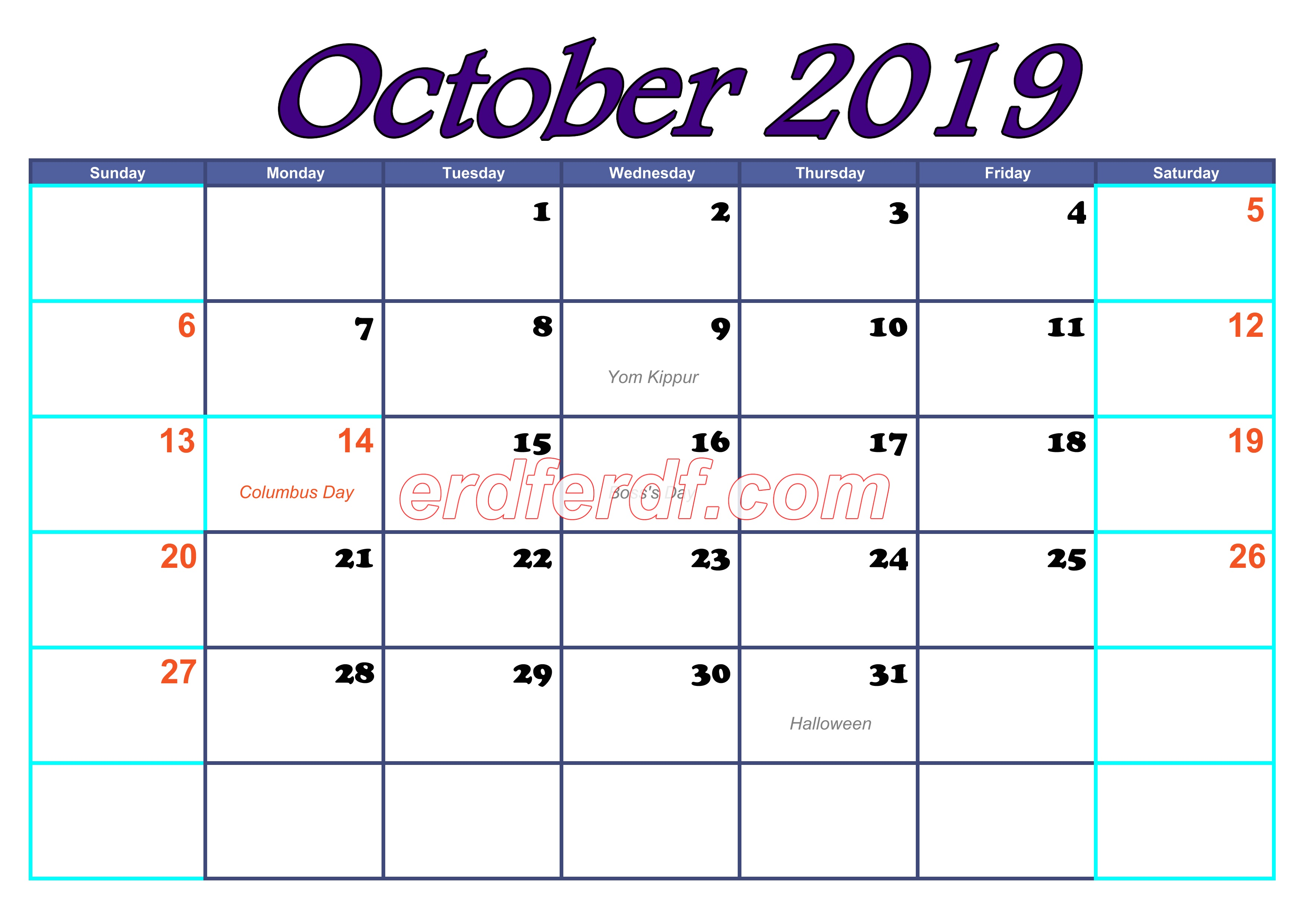 October Blank Calendar For 2019