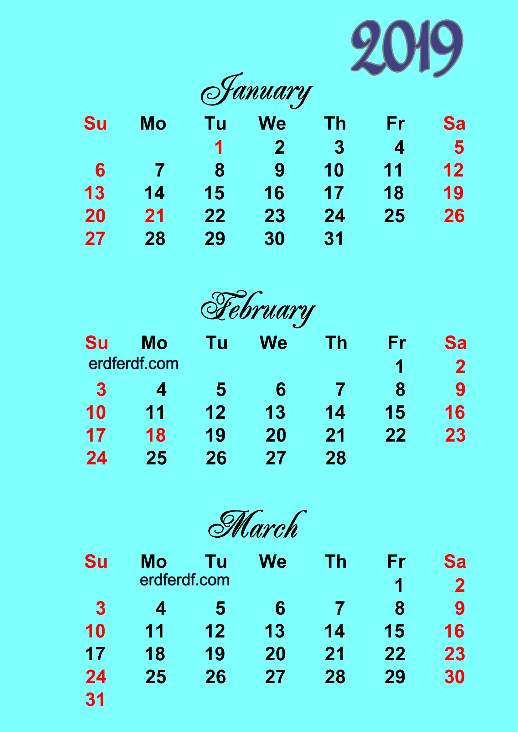 Printable Calendar 2019 2 Months Per Page Blue