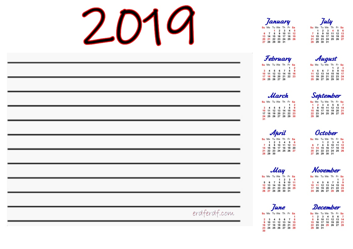 Printable Calendar 2019 With Notes Blue Header