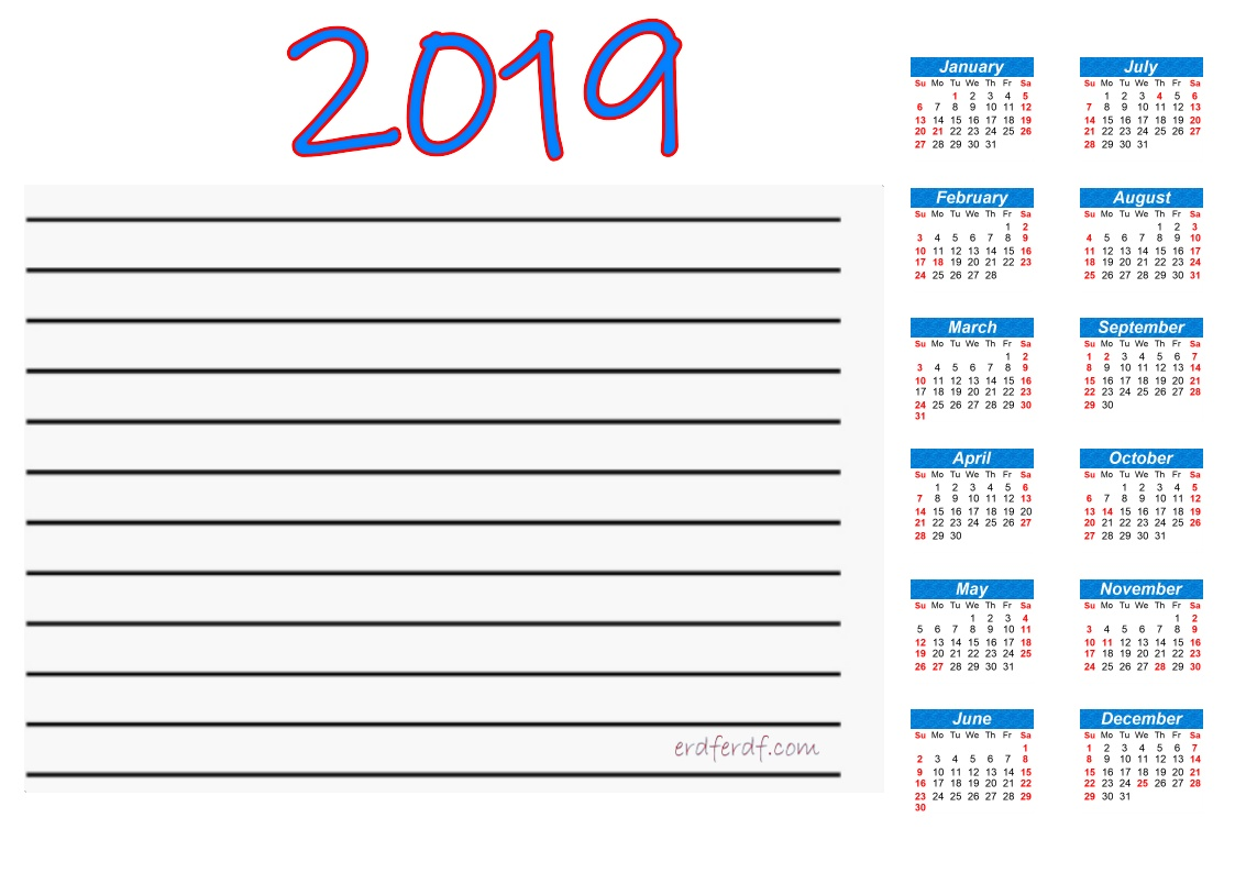 Printable Calendar 2019 With Notes Blue Line Header