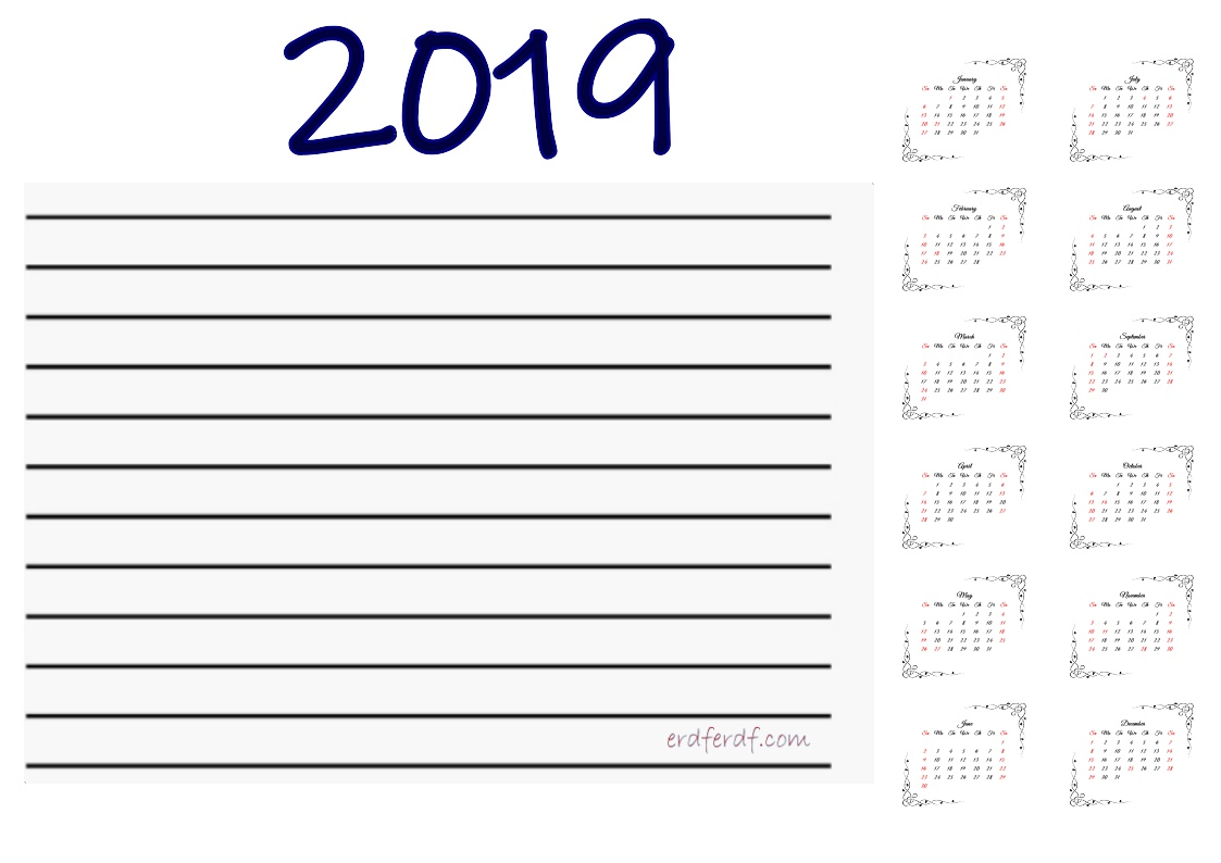 Printable Calendar 2019 With Notes Free Download