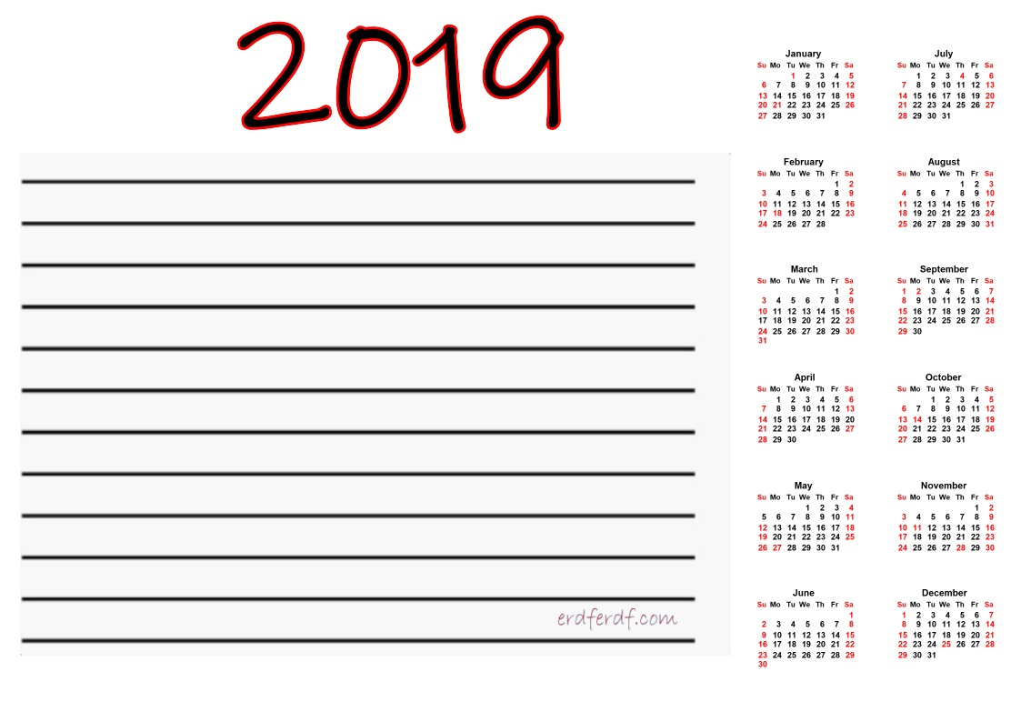 Printable Calendar 2019 With Notes Simple