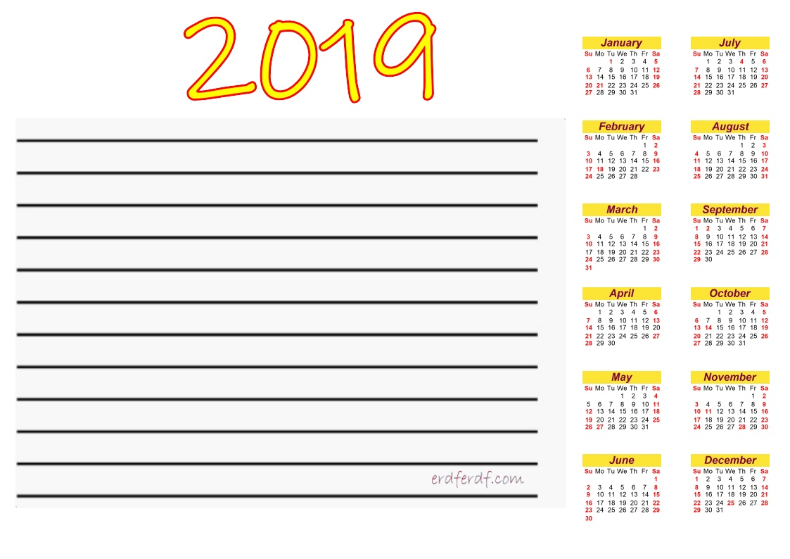 Printable Calendar 2019 With Notes Yelow Header Font