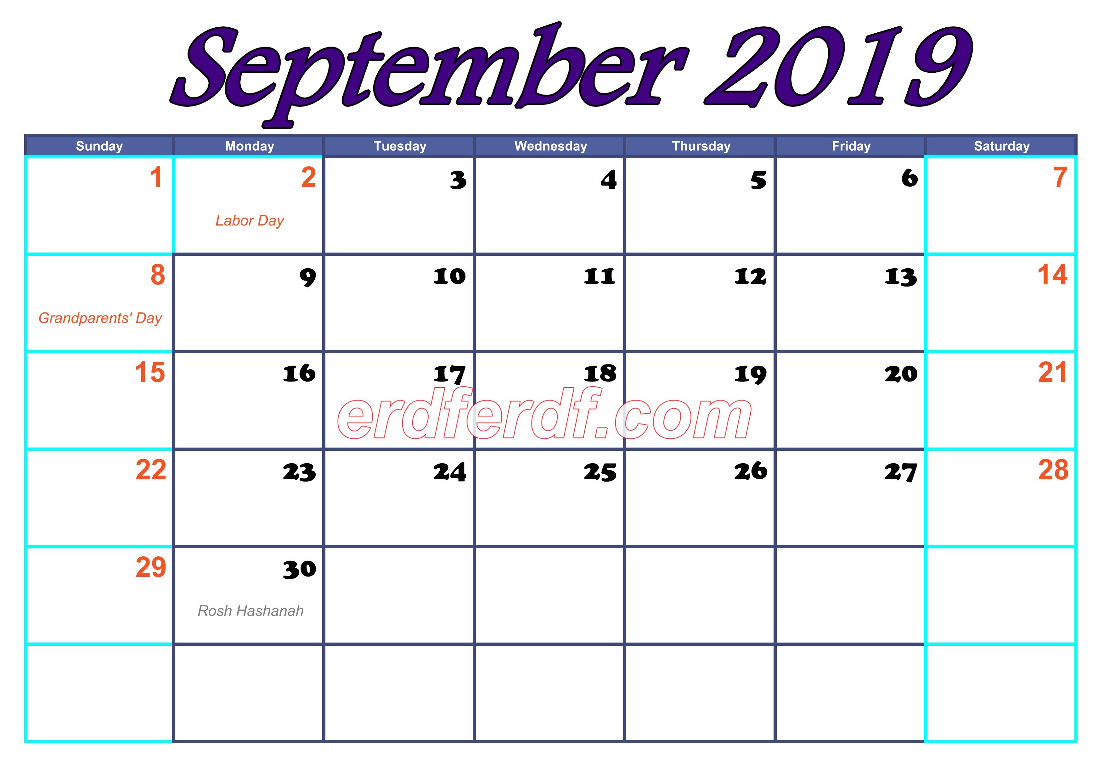 September Blank Calendar For 2019