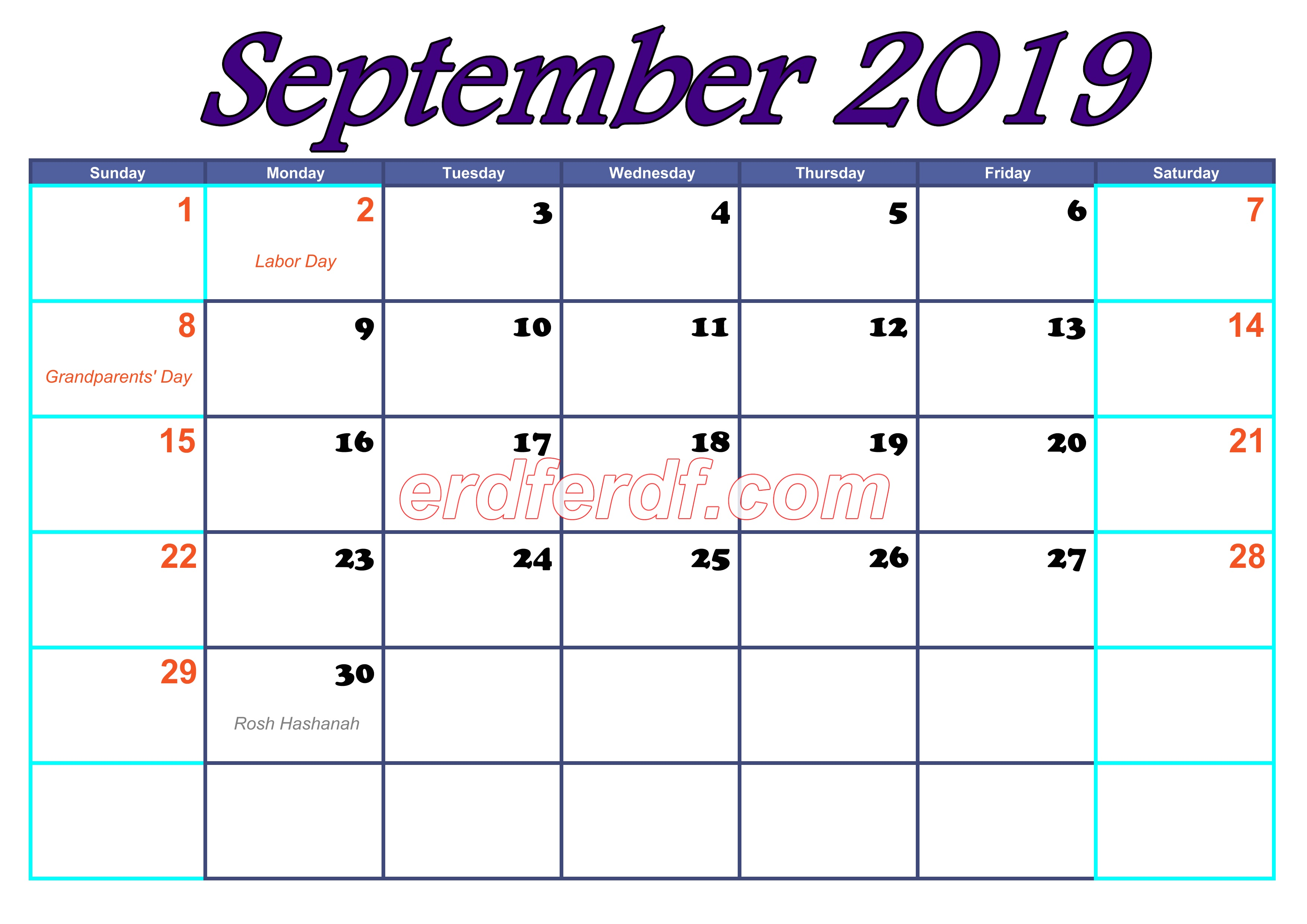 Blank Calendar For 2019