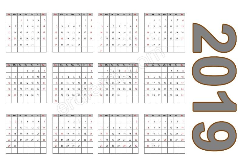 Calendar Template 2019 Free