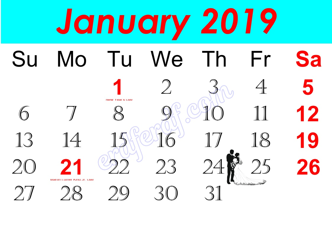 a January Free Printable Calendar 2019 Monthly
