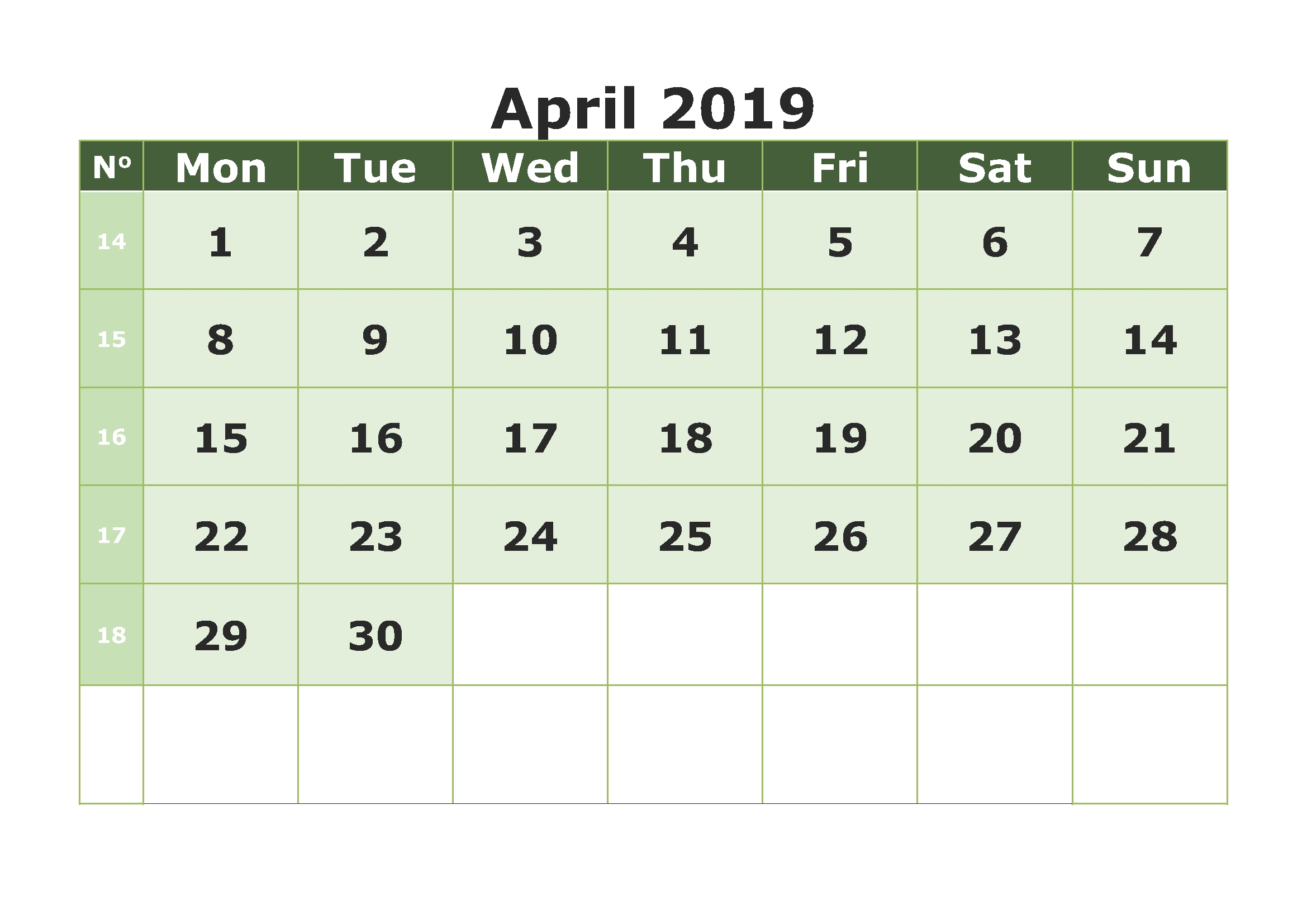april 2019 calendar printable template site provides::Blank Calendar 2019 Printable