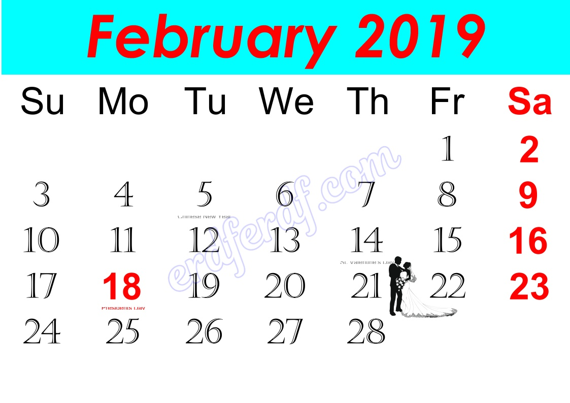 b February Free Printable Calendar 2019 Monthly