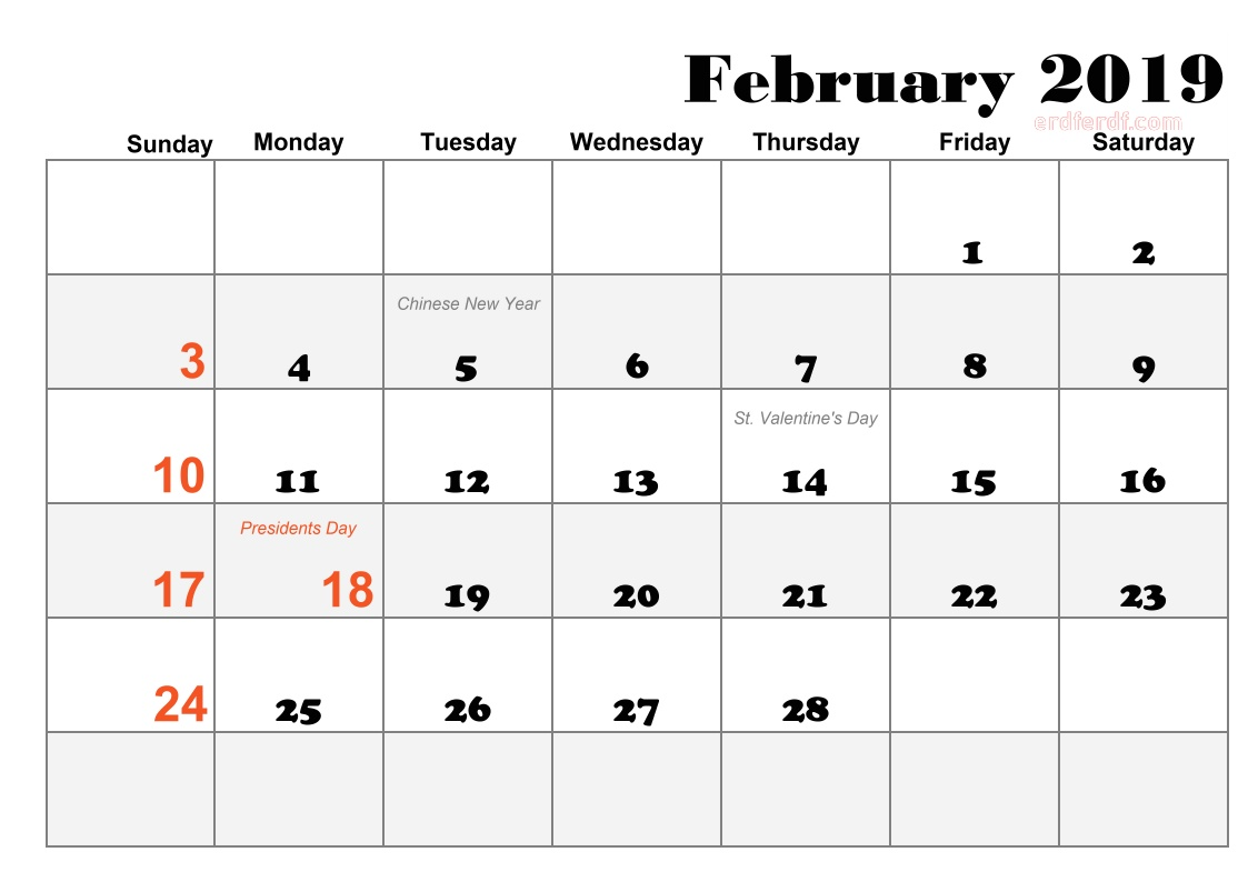 blank calendar 2019 pdf calendar February