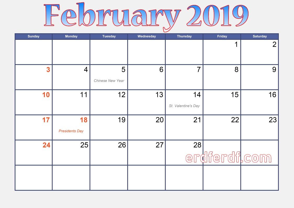 blank calendar february 2019 australia