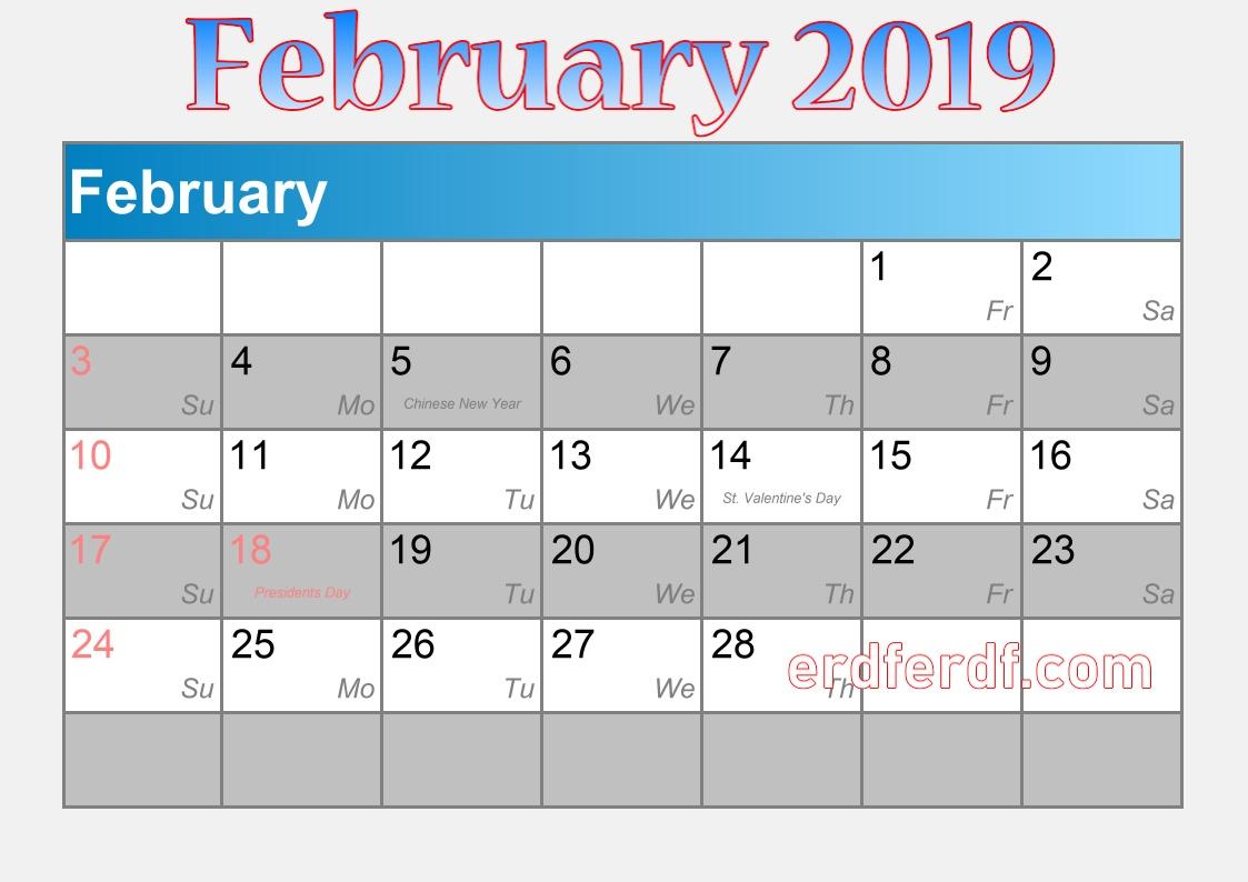 blank calendar february 2019 calendar