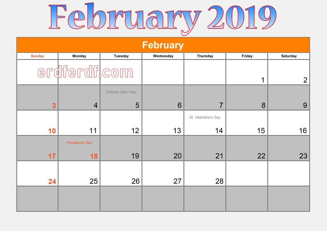 blank calendar february 2019 dates