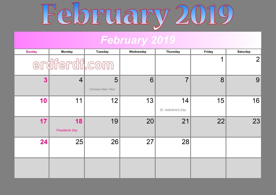 blank calendar february 2019 events