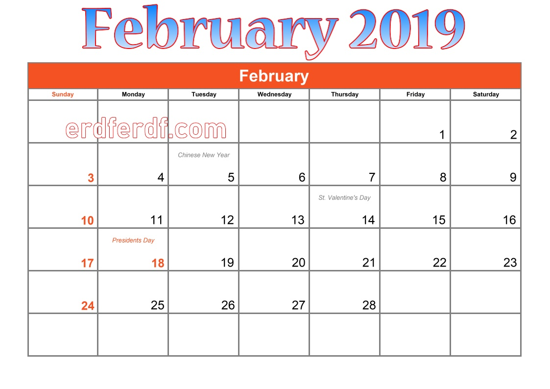 blank calendar february 2019 games
