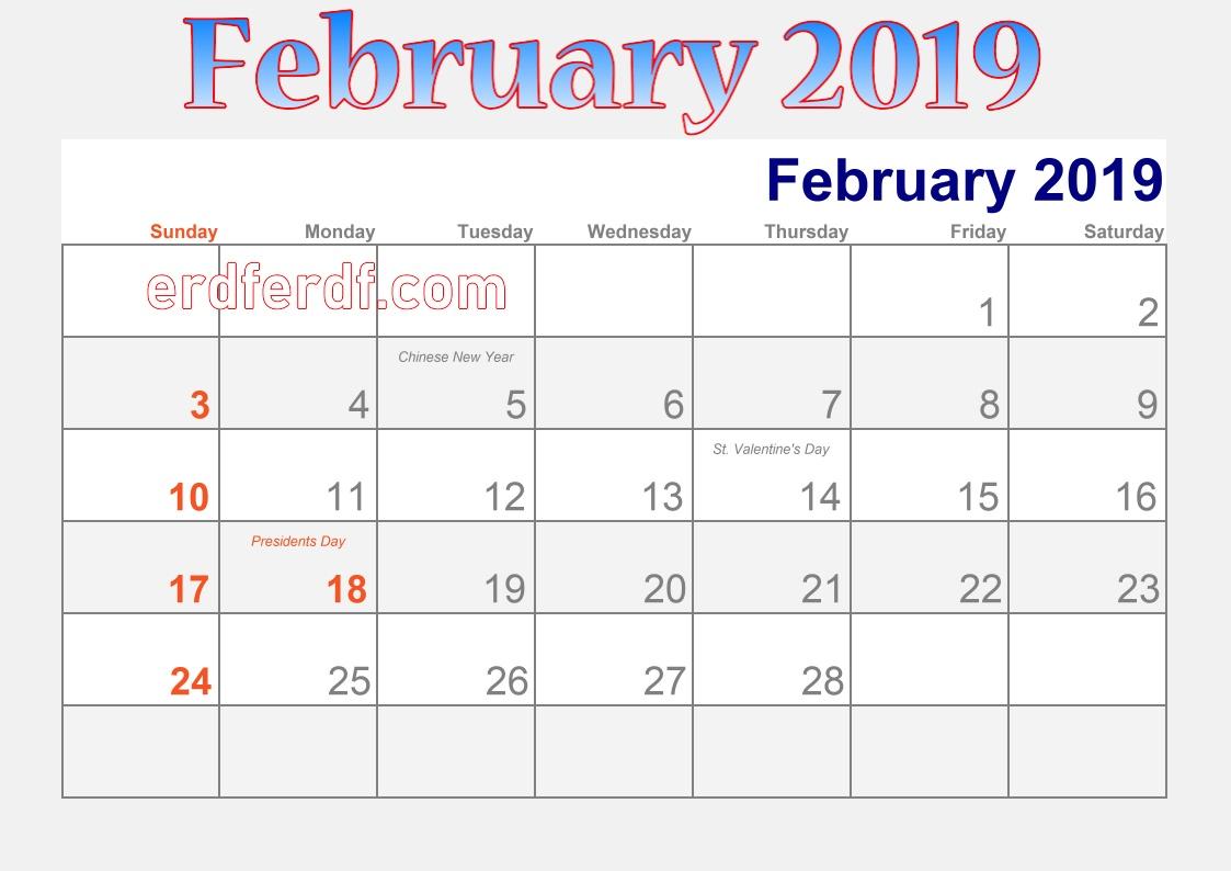 blank calendar february 2019 holidays